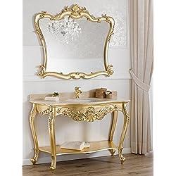 Consola lavabo y espejo estilo barroco francés hoja oro mármol crema