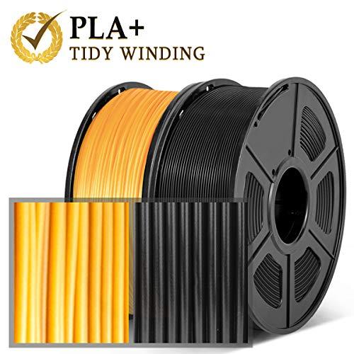 Filamento PLA Plus 1,75 mm, 2 kg, avvolgimento ordinato aggiornato, nessun groviglio,Nero & D\'oro