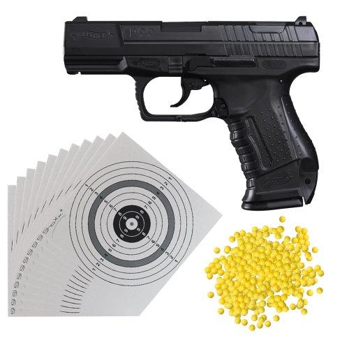 Set (P14): Walther P99 0,5 Joule Softair Pistole mit Ersatzmagazin (2.5543) + 2.000 Schuss ShoXx.® BB 6 mm / 0,12g + 25 ShoXx.® shoot-club Zielscheiben 14x14 cm mit zusätzlichen grauen Ring und 250 g/m²