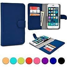 Funda Deslizable tipo Cartera Cooper Cases (TM) Slider para Smartphone de Motorola Atrix HD, Electrify 2, Electrify M, Luge en Azul (Acceso a cámara trasera; ranuras para tarjetas, bolsillo; cierre magnético)