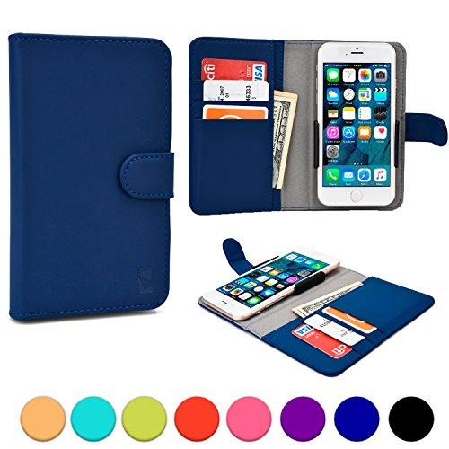 Universelle 5'' Telefonhülle, COOPER SLIDER Handyhülle mit Geldbörse und Schutzgehäuse mit Kameraöffnung & Kreditkartenhalter für 5'' Telefone (Blau) (Rabatt Geldbörse)