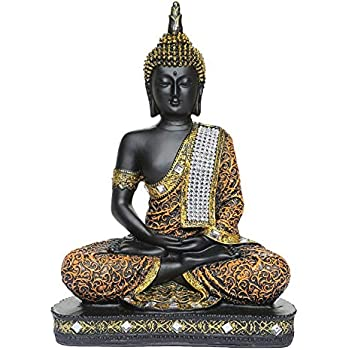 Global Grabbers Sitting Buddha Idol Statue Showpiece Orange and Black