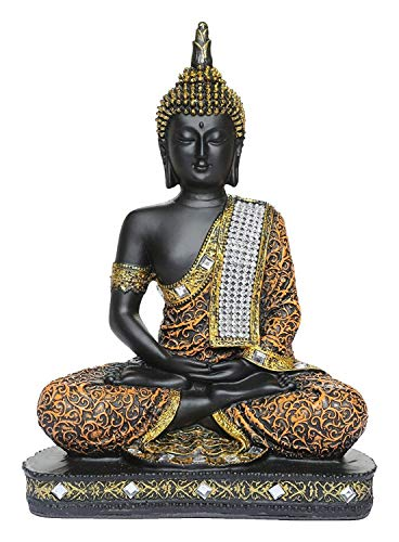 Global Grabbers Sitting Buddha Idol Statue Showpiece Orange and Black