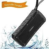 Enceinte Bluetooth Portable Sans Fil 12W, NickSea Enceinte Portable SoundBox Haut-Parleur Profond Basse Stéréo Avec / Bluetooth 4.1 / 27 Heures d'Autonomie en Lecture/ Etanche IP6/ Mains Libres Téléphone/ Double Pilites Subwoofer- Noir