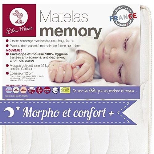 LILOU MIAKA - Matelas bébé Mémoire de forme – pour lit 60...