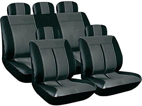 Universal-Sitzbezug-Schonbezug-Kunstleder-TITANUS-grau-schwarz-VW-Lupo-New-Beetle-9C1Y-Passat-3B3BG3BL3BS3C