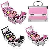 Swiftt Kosmetikkoffer Tragbare Mini Ausziehbare Schminkkoffer Schmuckkoffer Schmuckbox, Größe und Design aus Aluminium Beauty Case Rollkoffer für Make-up Liebhaber zu Reisen (Rosa&Rosa)