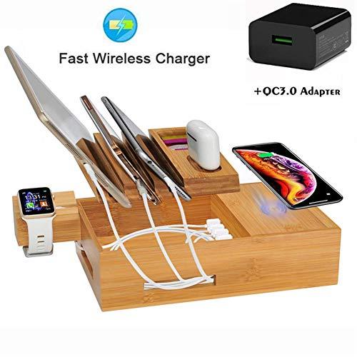 HAEEP Wireless-Ladegerät, Ladestation für mehrere Geräte, Bambus-Ladestation, für Apple Watch/AirPods/iPhone 11/11 Pro/XS/XR/8/Samsung S10
