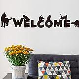 Coco Chats Dog Bienvenue Stickers muraux Amovibles Vinyle Autocollants Art Mural Bricolage Home Décor