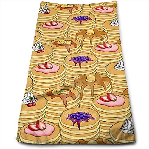 WBinHua Handtücher, Sporthandtuch, Bath Towels Pancake Breakfast Face Towels Highly Absorbent Washcloths Multipurpose Towels for Hand Face Gym and Spa 12