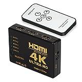 4K HDMI Switch Switcher, 5 Port Switch mit Fernbedienung, 5 Input Port und 1 Output Port Switch HDMI v1.4.3D Unterstützung für HDTV, PS3, Xbox One, 360, Blu Ray Player, DVD Player, Etc. (HDMI Switch)