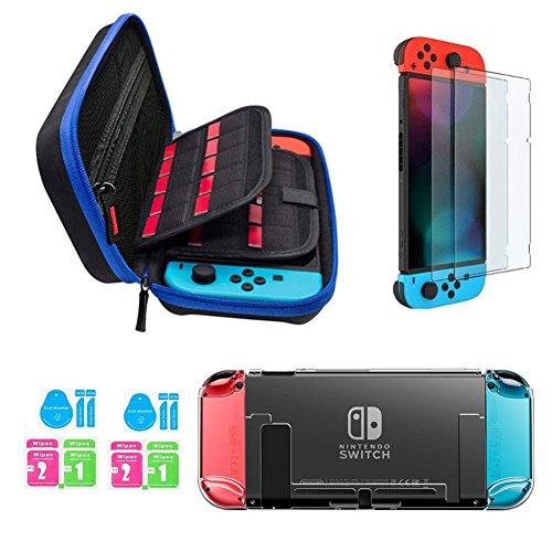 Nintendo Switch Zubehör Kit - JUSONEY nintendo switch tasche mit 20 Spiel Patrone / Switch Clear Cover Case / 2 Stück HD Screen Protector für Nintendo Switch Console Zubehör