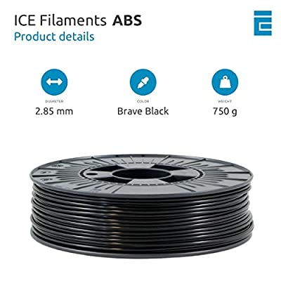 ICE FILAMENTS ICEFIL3ABS022 ABS Filament, 2,85 mm, 0,75 kg, Brave Black