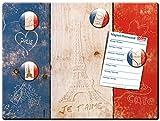 Blechschild Flagge Frankreich mit Magnete, Geschenk Frau Freundin Frauen Liebe Dekoschild Wandschild Metallschild, Bunt, 30x40 cm