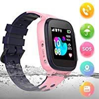 bhdlovely Kids Tracker Smart Watch with Two-Way Call SOS Touch Screen Waterproof Smart Watches for Kids Girls Boys