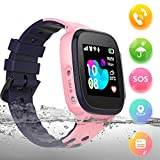 Montre Enfant LBS Tracker Étanche Telephone Montre Connectée Enfant Fille Garçon LBS SOS Smart Watches(Pink)