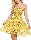 Zeagoo Damen Chiffon Kleid Strandkleid Blumen Druckkleid Bandeaukleid Floral Sommerkleid Spaghetti Trägerkleid, Gelb, 42 (Herstellergröße : XL)
