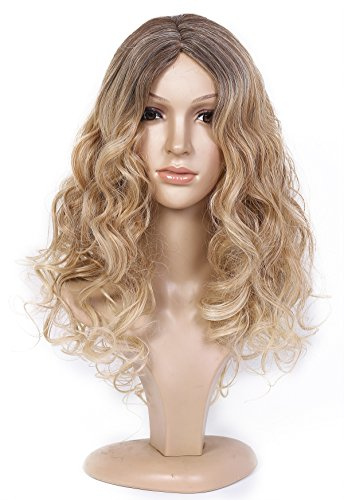 Beauty Smooth Hair Damen Lang Blonde Lockig Wellig Voll Peruecken Party Peruecke Cosplay Peruecke COSL1030