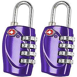 2 x TRIXES candados con combinación de 4 números para equipaje en color morado