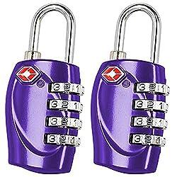 2 x TRIXES Kofferschloss TSA Schloss mit 4 Ziffern für Reisen in Lila