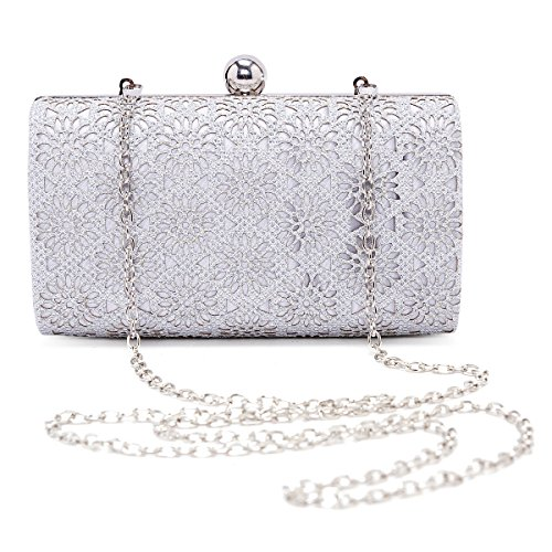 Damara Womens Shining Fiore Hollow Out sera borsa frizione borsa Silver