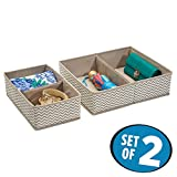 mDesign Unterwäsche Aufbewahrung - der ideale Sortierkasten zur BH Aufbewahrung oder zur Ablage von Unterhosen - zweier Set mit vier Fächern - atmungsaktives Material