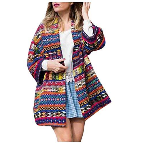 Damen Herbst- und Winter Jacke, Jessboy Modus elegante Retro Nationaler Stil Drucken Sieben-Viertel-Armel Mantel öffnen europäischen Stil -