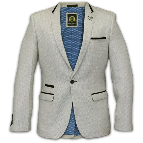 MARC-DARCY-Gilet Veste en Tweed à chevrons Patchs en velours Motif New Ecru - Cream-GLEN