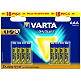 Varta Longlife AAA Batteries - 16-Pack