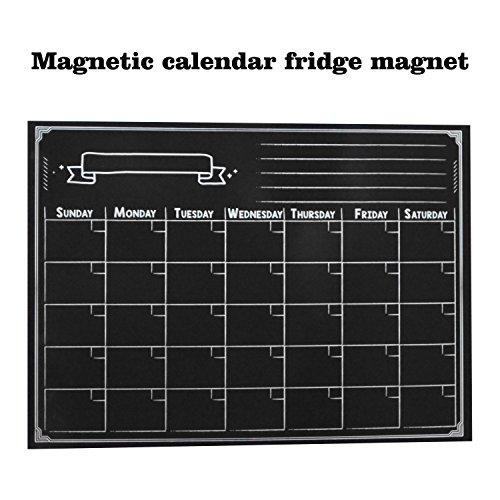 Smart Planer 's Magnetic Kühlschrank Kalender Dry Erase Board Planer Kalender Design für Küche Kühlschrank mit gratis Magnetic Dry Erase Marker enthalten (schwarz 420* 300mm)
