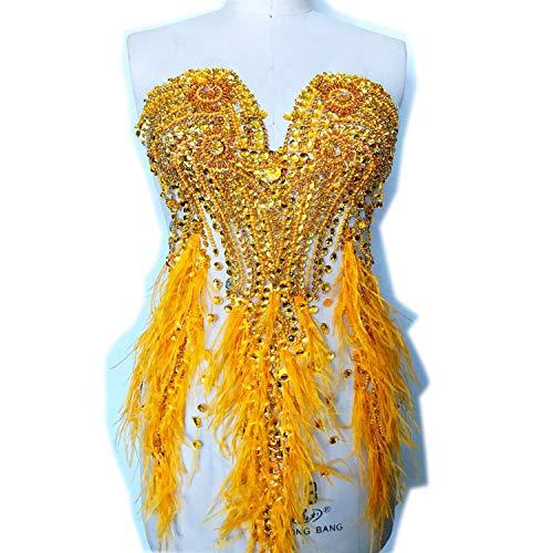 Luxus Strass Mieder Applikation Perlenfeder Bestickung Patch für Kostüm Ballkleid Abendkleid gold