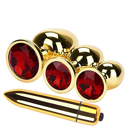 Sm erotische Werkzeuge, Malloom 4 Stück Gold Runde geformte Basis mit Schmuck Birth Plugs Anal...