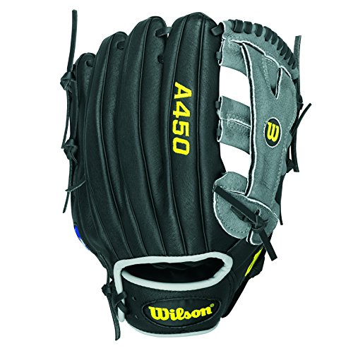WILSON A450 Advisory Puig Handschuhe, Schwarz/ Gelb/ Grau, 12