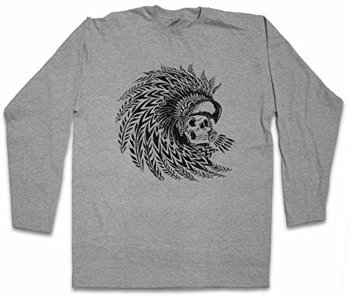 Dead Aztec Warrior T-Shirt DE Manga Larga Long Sleeve Shirt - Indian American Sign Maya Mayans USA Symbol parure de Tête Chef de Tribu Mort Morte squelette azteco indiano Capo Azteca indígena Indio