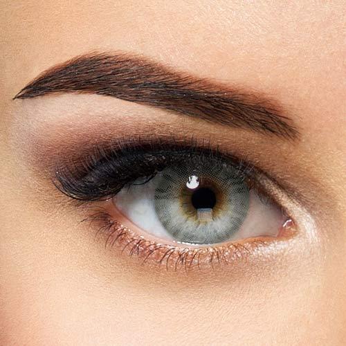 Natürliche Hidrocor farbige Kontaktlinsen Icy Gray - graue Jahreslinsen ohne Stärke (2 Stück)
