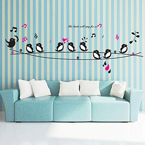 LQRRHY Happy Birds Song Musik Wandaufkleber Wohnzimmer Schlafzimmer Tv Sofa Hintergrund Wandtattoos Wohnkultur Kunstwand Poster