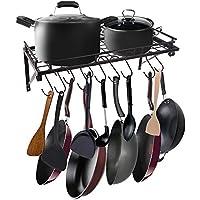 AcornFort® K-1112 - Estante para colgar utensilios de cocina, 10 ganchos, color negro