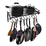 AcornFort® K-1112Schwarzes Küchenregal, Wandregal für Töpfe Pfannen, Utensilien Hängeregal mit 10Haken
