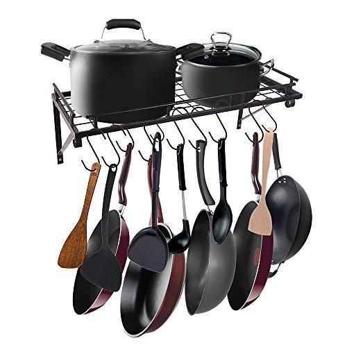 AcornFort K-1112Schwarzes Küchenregal, Wandregal für Töpfe Pfannen, Utensilien Hängeregal mit...