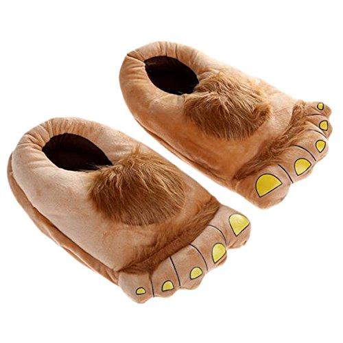 Unisex Big Feet Plüsch Warm Baumwolle Hausschuhe, Puschen Plüsch Hausschuhe Pantoffeln Kostüme Tierhausschuhe Geschenkidee - Aprikose