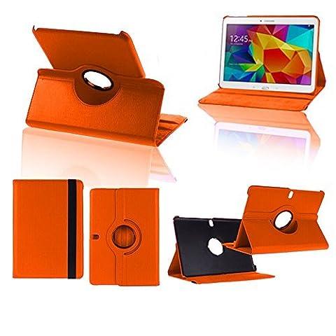 VCOMP® Etui Coque Housse avec support Et Rotation 360° en cuir PU pour Samsung Galaxy Tab Pro 10.1 SM-T520/ Tab Pro 10.1 LTE 4G SM-T525 - ORANGE