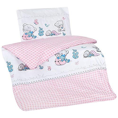 Aminata-Kids süße Kinderbettwäsche Bettwäsche Kinder 100×135 cm Baumwolle Mädchen Bär rosa Teddybär Bärchen Babybettwäsche Teddy Bärchen ★ KINDERBETT-GRÖSSE ★
