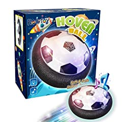 Idea Regalo - Rolytoy Hover Football Pallone da Calcio Air Power Soccer con Luci a LED e Musica, Bianco/Nero
