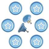 Designer Möbelknopf Set 6er96489B Stern Star blau Keramik Shabby Chic Möbelknöpfe Griffe Knäufe für Schrank Schublade Kommode Kinderzimmer