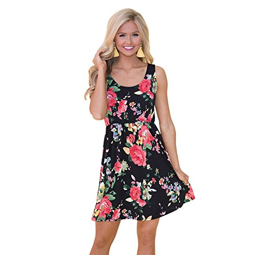 Yalatan Mini Sommerkleid Damen Fashion Print Floral O-Ausschnitt Elegant Boho Ärmelloses Party Dress (Kleid Silk Floral Sleeveless)