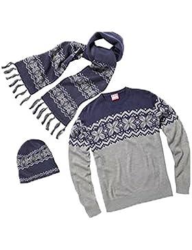 Unisex tradizionali di Natale ponticello lavorata a maglia Sciarpa Hat set-uomini donne Xmas set regalo