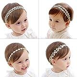 COUXILY 4 Stk Stirnbänder Baby Mädchen Lace Chiffon Kunstleder Gummiband Haarband (4 - C01)