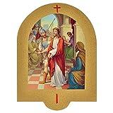Holyart Vía Crucis Estampa sobre Madera 19x14 cm 15 Estaciones