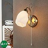 Lampenwelt Wandleuchte, Wandlampe Innen 'Amedea' dimmbar (Retro, Vintage, Antik) in Weiß aus Glas u.a. für Wohnzimmer & Esszimmer (1 flammig, E14, A++) - Wandstrahler, Wandbeleuchtung Schlafzimmer /