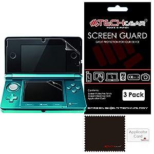 Techgear Displayschutzfolien für Nintendo 3DS Ober- und Unterseite, (inklusive Reinigungstuch) 3 Stück
